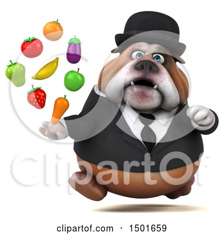 Clipart of a 3d Gentleman or Business Bulldog Holding Produce, on a White Background - Royalty Free Illustration by Julos
