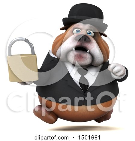 Clipart of a 3d Gentleman or Business Bulldog Holding a Padlock, on a White Background - Royalty Free Illustration by Julos