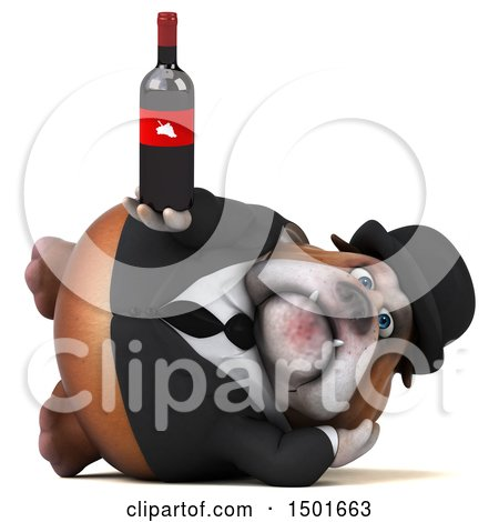 Clipart of a 3d Gentleman or Business Bulldog Holding a Wine Bottle, on a White Background - Royalty Free Illustration by Julos