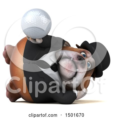 Clipart of a 3d Gentleman or Business Bulldog Holding a Golf Ball, on a White Background - Royalty Free Illustration by Julos