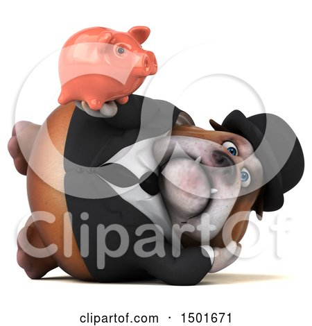 Clipart of a 3d Gentleman or Business Bulldog Holding a Piggy Bank, on a White Background - Royalty Free Illustration by Julos