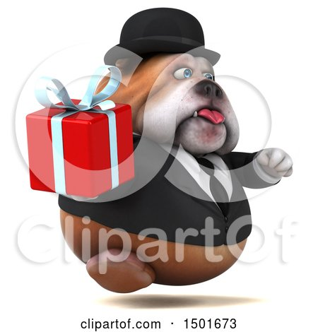 Clipart of a 3d Gentleman or Business Bulldog Holding a Gift, on a White Background - Royalty Free Illustration by Julos