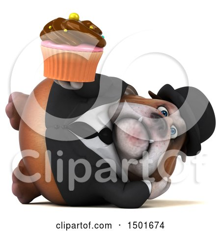 Clipart of a 3d Gentleman or Business Bulldog Holding a Cupcake, on a White Background - Royalty Free Illustration by Julos