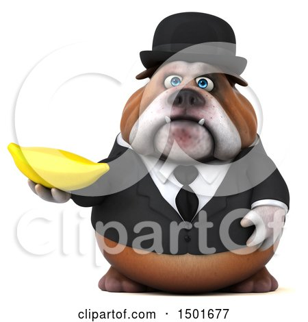 Clipart of a 3d Gentleman or Business Bulldog Holding a Banana, on a White Background - Royalty Free Illustration by Julos