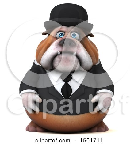 Clipart of a 3d Bulldog Gentleman, on a White Background - Royalty Free Illustration by Julos