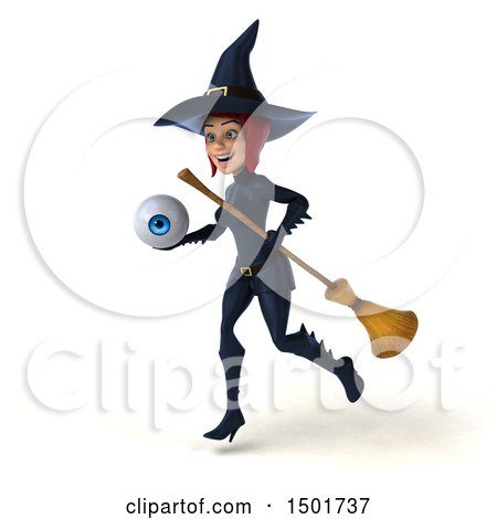 Clipart of a 3d Sexy Blue Witch Holding an Eyeball, on a White Background - Royalty Free Illustration by Julos