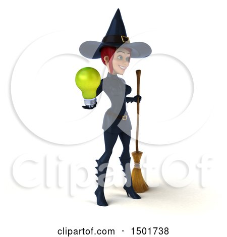 Clipart of a 3d Sexy Blue Witch Holding a Light Bulb, on a White Background - Royalty Free Illustration by Julos