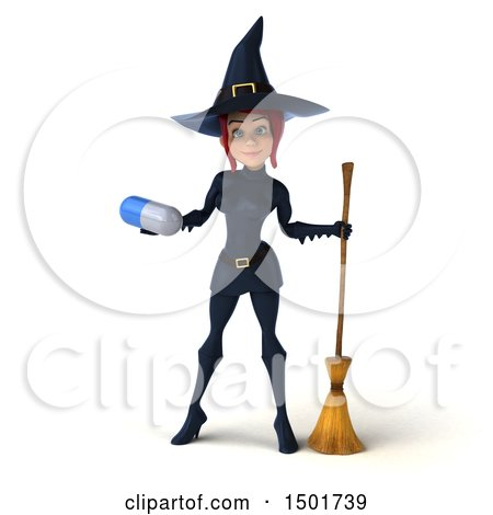 Clipart of a 3d Sexy Blue Witch Holding a Pill, on a White Background - Royalty Free Illustration by Julos