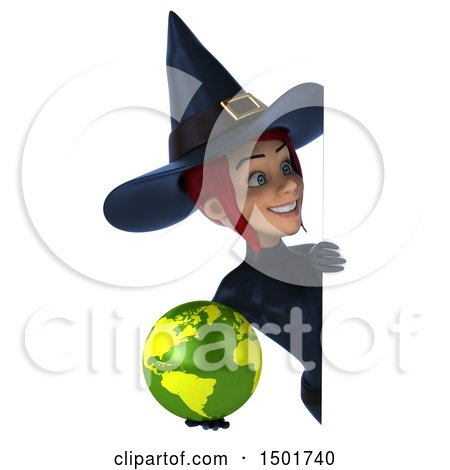 Clipart of a 3d Sexy Blue Witch Holding a Globe, on a White Background - Royalty Free Illustration by Julos
