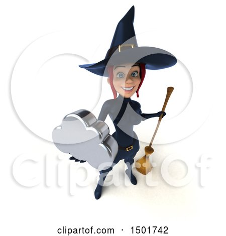 Clipart of a 3d Sexy Blue Witch Holding a Cloud, on a White Background - Royalty Free Illustration by Julos