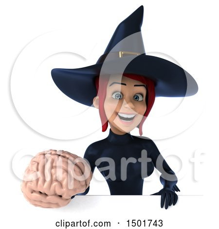 Clipart of a 3d Sexy Blue Witch Holding a Brain, on a White Background - Royalty Free Illustration by Julos
