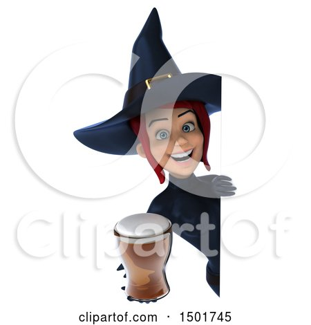 Clipart of a 3d Sexy Blue Witch Holding a Beer, on a White Background - Royalty Free Illustration by Julos