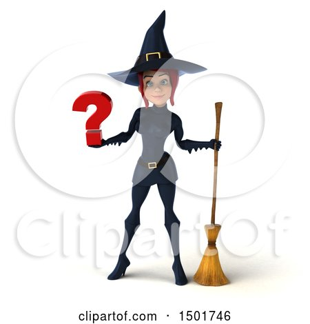 Clipart of a 3d Sexy Blue Witch Holding a Question Mark, on a White Background - Royalty Free Illustration by Julos