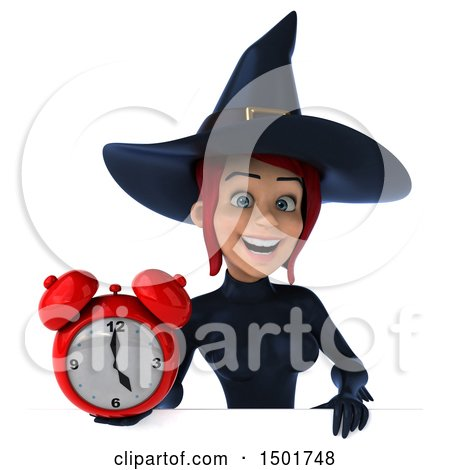 Clipart of a 3d Sexy Blue Witch Holding an Alarm Clock, on a White Background - Royalty Free Illustration by Julos