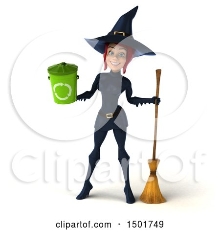 Clipart of a 3d Sexy Blue Witch Holding a Recycle Bin, on a White Background - Royalty Free Illustration by Julos