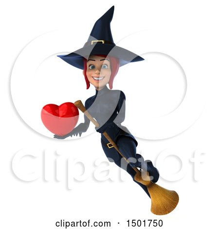 Clipart of a 3d Sexy Blue Witch Holding a Heart, on a White Background - Royalty Free Illustration by Julos