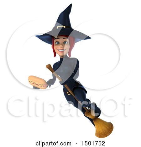 Clipart of a 3d Sexy Blue Witch Holding a Hot Dog, on a White Background - Royalty Free Illustration by Julos