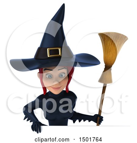 Clipart of a 3d Sexy Blue Witch Holding a Broom, on a White Background - Royalty Free Illustration by Julos