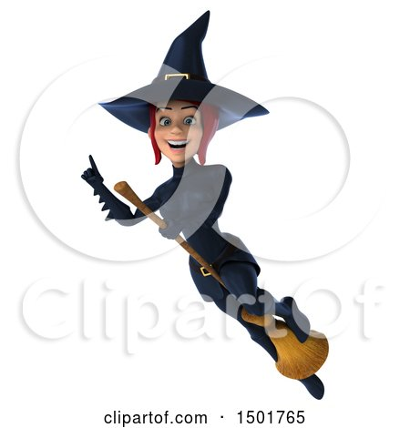 Clipart of a 3d Sexy Blue Witch Flying, on a White Background - Royalty Free Illustration by Julos