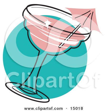 Pink Umbrella In A Strawberry Margarita Clipart Illustration by Andy Nortnik