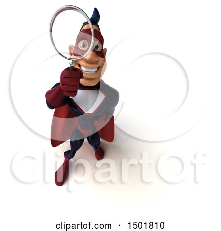 Clipart of a 3d Buff White Male Maroon Hero Using a Magnifying Glass, on a White Background - Royalty Free Illustration by Julos