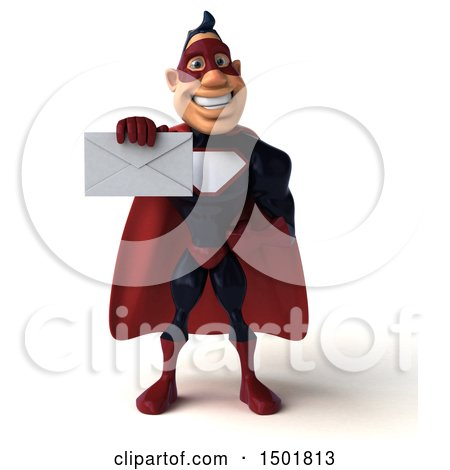 Clipart of a 3d Buff White Male Maroon Hero Holding an Envelope, on a White Background - Royalty Free Illustration by Julos