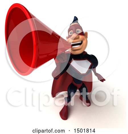 Clipart of a 3d Buff White Male Maroon Hero Using a Megaphone, on a White Background - Royalty Free Illustration by Julos