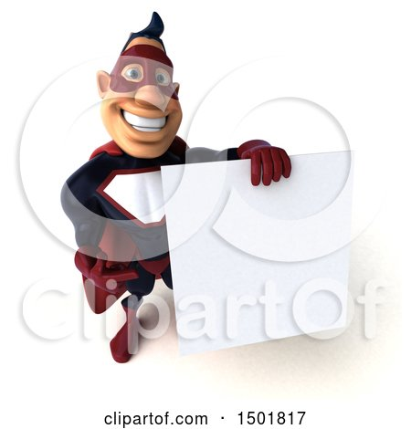 Clipart of a 3d Buff White Male Maroon Hero Holding a Blank Sign, on a White Background - Royalty Free Illustration by Julos