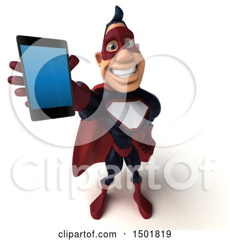 Clipart of a 3d Buff White Male Maroon Hero Holding a Smart Phone, on a White Background - Royalty Free Illustration by Julos