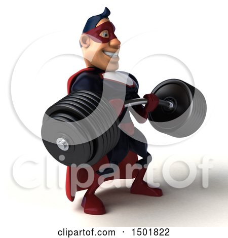 Clipart of a 3d Buff White Male Maroon Hero Holding a Heavy Barbell, on a White Background - Royalty Free Illustration by Julos