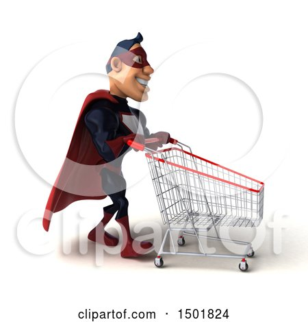 Clipart of a 3d Buff White Male Maroon Hero Pushing a Cart, on a White Background - Royalty Free Illustration by Julos