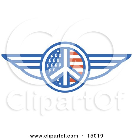 Winged American Peace Sign  Posters, Art Prints