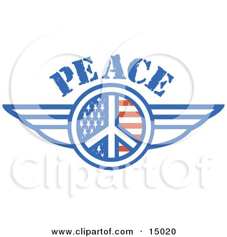 American Peace Symbol With Stars And Stripes And Wings Onthe Sides Clipart Illustration by Andy Nortnik