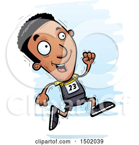 Clipart of a Running Black Male Track and Field Athlete - Royalty Free Vector Illustration by Cory Thoman