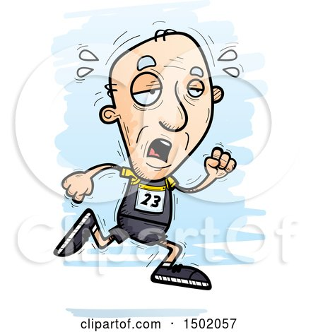 Clipart of a Tired Running White Senior Male Track and Field Athlete - Royalty Free Vector Illustration by Cory Thoman