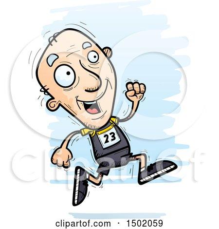 Clipart of a Running White Senior Male Track and Field Athlete - Royalty Free Vector Illustration by Cory Thoman