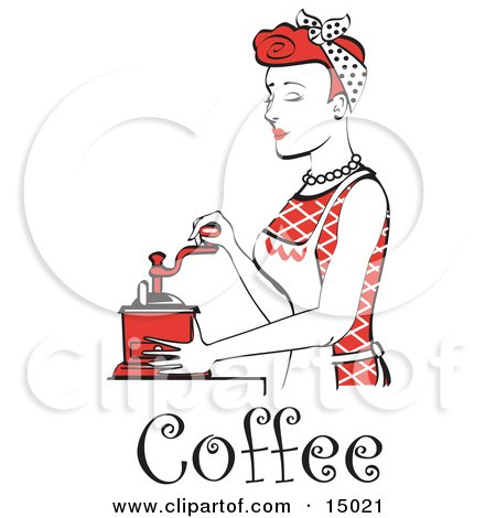 Beautiful Red Haired Housewife Or Maid Woman Using A Manual Coffee Grinder, With Text  Posters, Art Prints