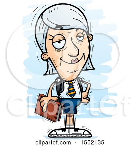 Clipart of a Confident White Senior Female College Student - Royalty Free Vector Illustration by Cory Thoman