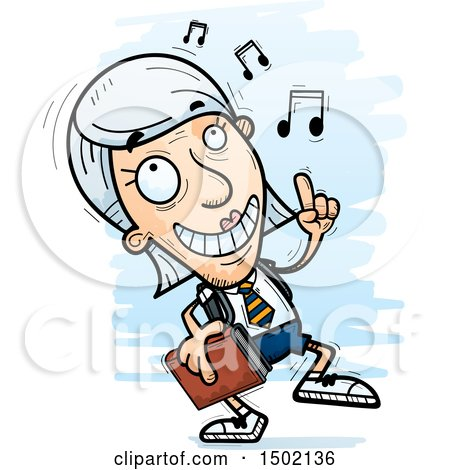 Clipart of a White Senior Female College Student Doing a Happy Dance - Royalty Free Vector Illustration by Cory Thoman
