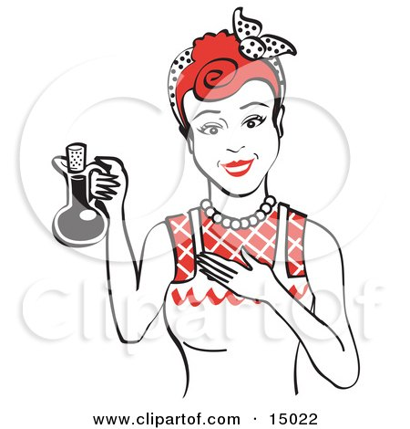 Happy Woman in an Apron, Holding up a Bottle of Cooking Oil  Posters, Art Prints
