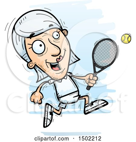 Clipart of a Running Caucasian Senior Woman Tennis Player - Royalty Free Vector Illustration by Cory Thoman