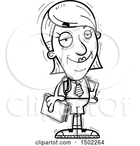 Clipart of a Black and White Confident Senior Female College Student - Royalty Free Vector Illustration by Cory Thoman