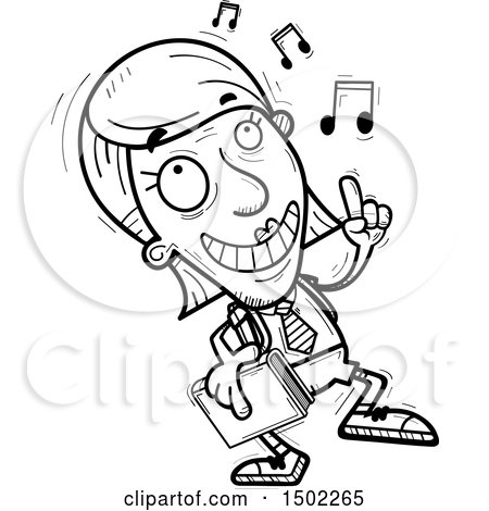 Clipart of a Black and White Senior Female College Student Doing a Happy Dance - Royalty Free Vector Illustration by Cory Thoman