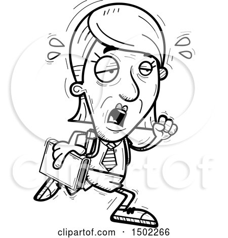 Clipart of a Black and White Tired Running Senior Female College Student - Royalty Free Vector Illustration by Cory Thoman