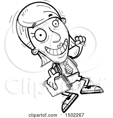 Clipart of a Black and White Jumping Senior Female College Student - Royalty Free Vector Illustration by Cory Thoman