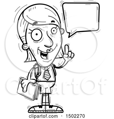 Clipart of a Black and White Talking Senior Female College Student - Royalty Free Vector Illustration by Cory Thoman