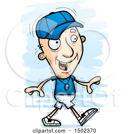 Clipart of a Walking White Senior Male Coach - Royalty Free Vector Illustration by Cory Thoman