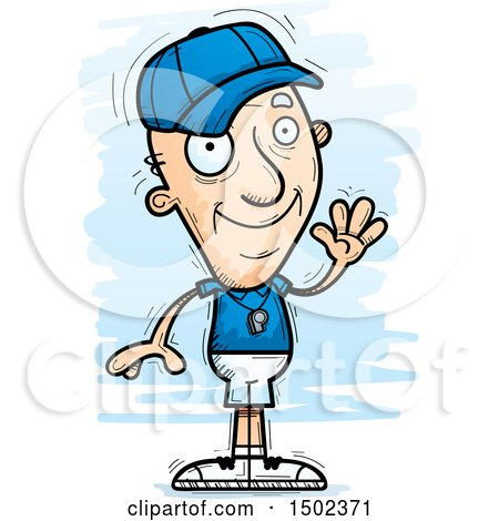 Clipart of a Waving White Senior Male Coach - Royalty Free Vector Illustration by Cory Thoman