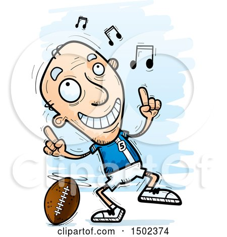 Clipart of a White Senior Male Football Player Doing a Happy Dance - Royalty Free Vector Illustration by Cory Thoman