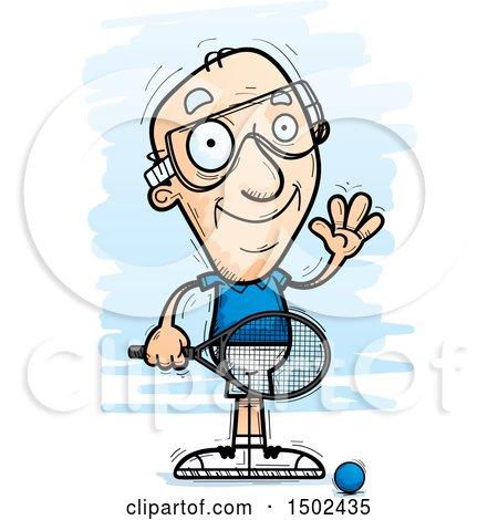 clipart of a waving caucasian senior man racquetball player rh clipartof com racquetball racquet clipart